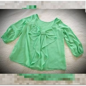 Gorgeous spring summer mint green bow low back top